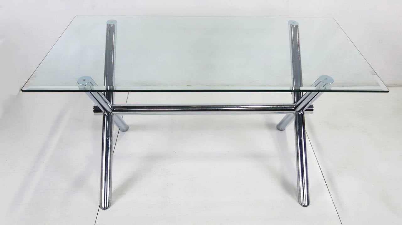 Italian Chrome X Base Trestle Dining Table Or Writing Desk For Sale At