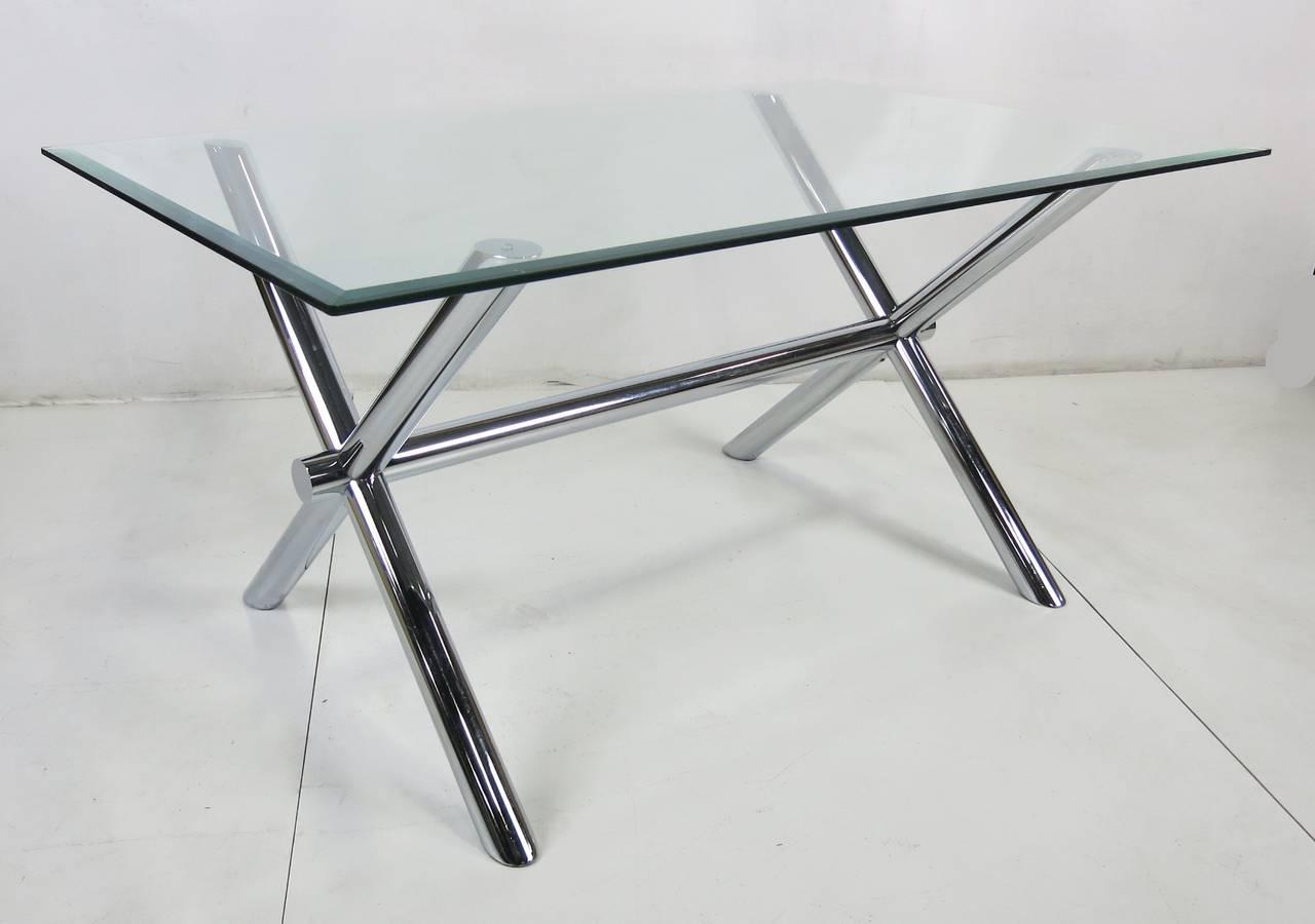 Mid-Century Modern Italian Chrome X-Base Trestle Dining Table or Writing Desk For Sale