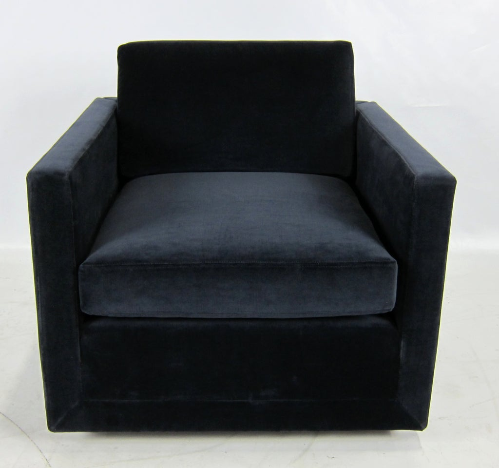 Navy Velvet Club Chair: Pair Of Navy Blue Velvet Floating Cube Lounge Chairs At