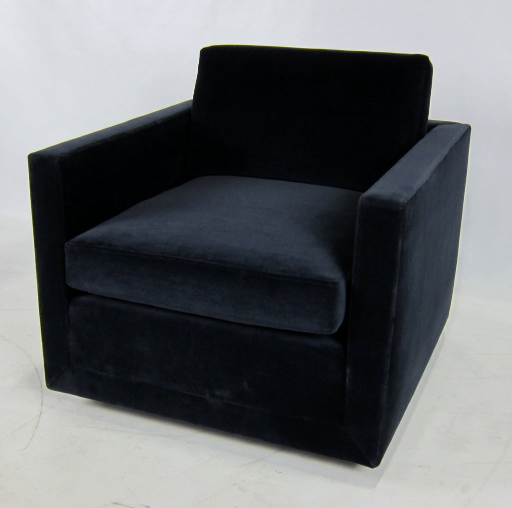 Pair Of Navy Blue Velvet Floating Cube Lounge Chairs At