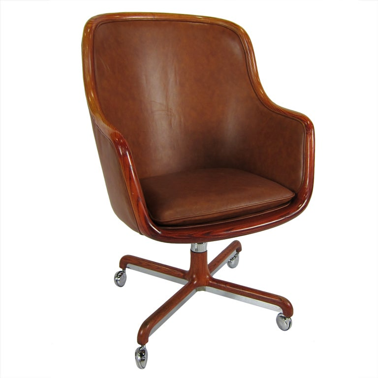 Peachy Oak And Leather Executive Desk Chair By Ward Bennet For Brickel Ncnpc Chair Design For Home Ncnpcorg