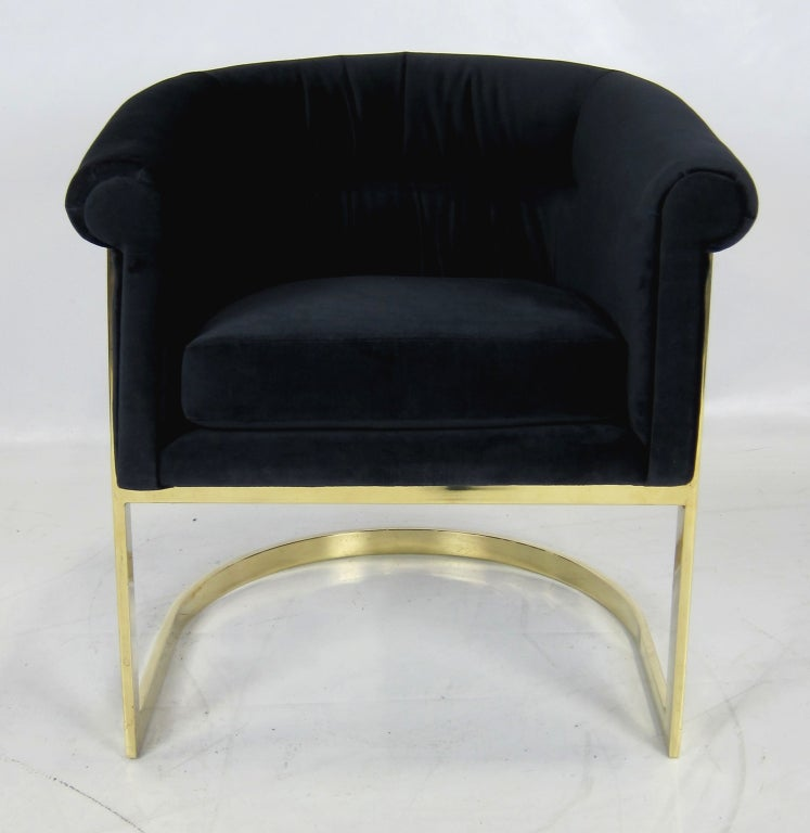 Pair of Brass Milo Baughman Lounge Chairs in Navy Velvet image 5