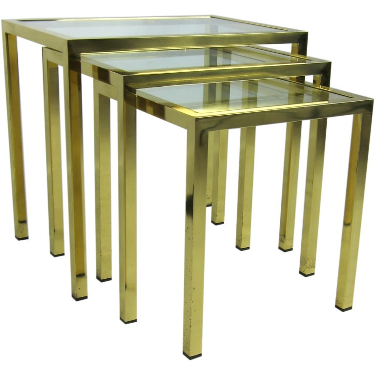 Set of Italian Brass Nesting Tables