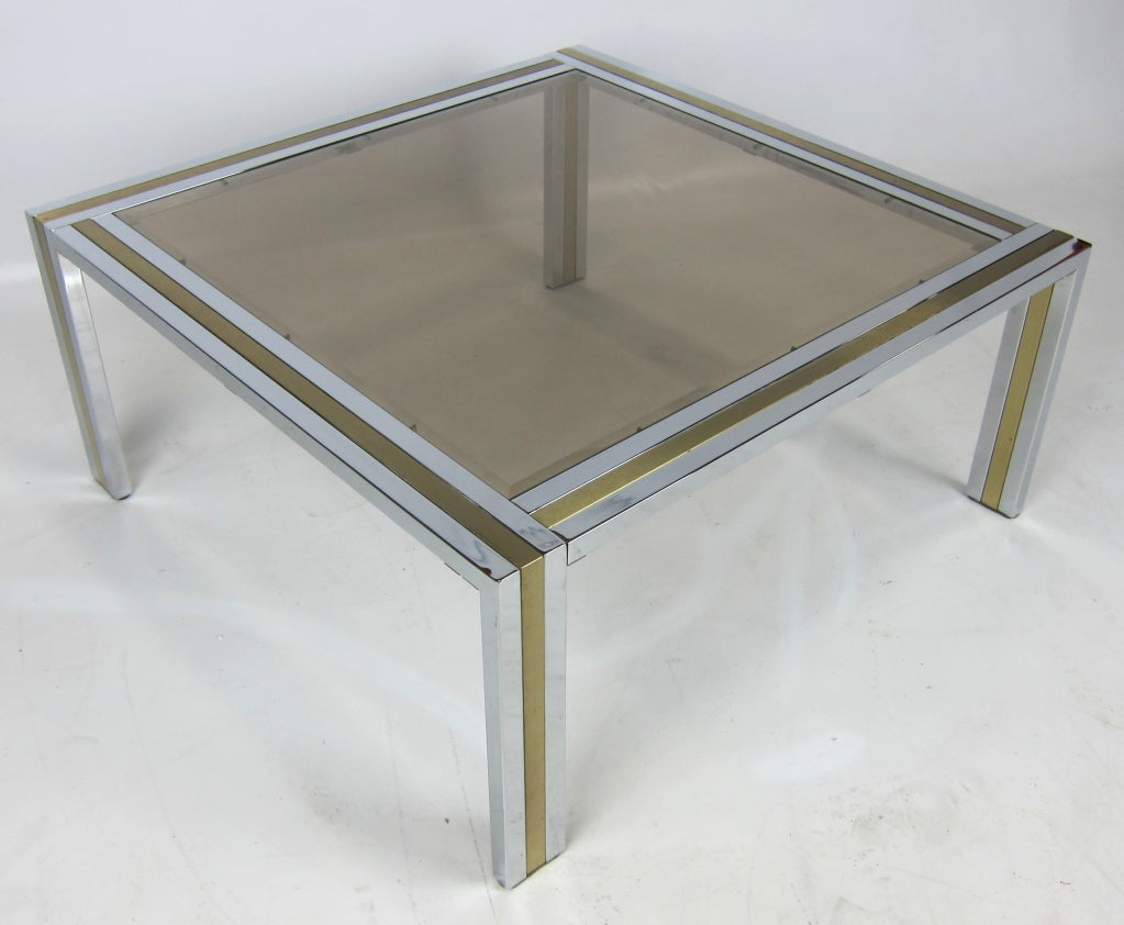 American Chrome and Brass Coffee Table attributed to Romeo Rega For Sale