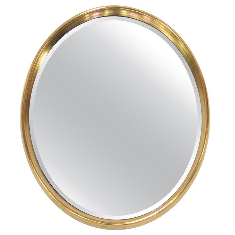 Deep Gilt Framed Oval Wall Mirror For Sale