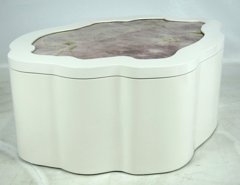 Large Freeform Coffee Table With Inset Quartz Top 2