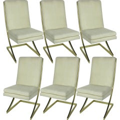 Set of Six Brass Z-Frame Dining Chairs by Milo Baughman