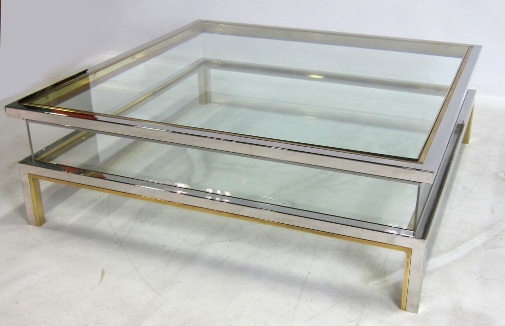 Chrome and brass display coffee table by maison jansen at for Display coffee table