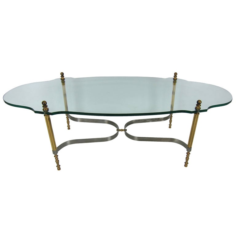 Brass and Steel Coffee Table by LaBarge 1
