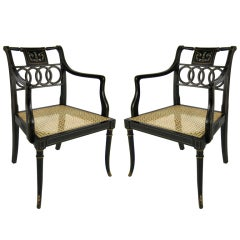 Pair of Italian Regency Armchairs