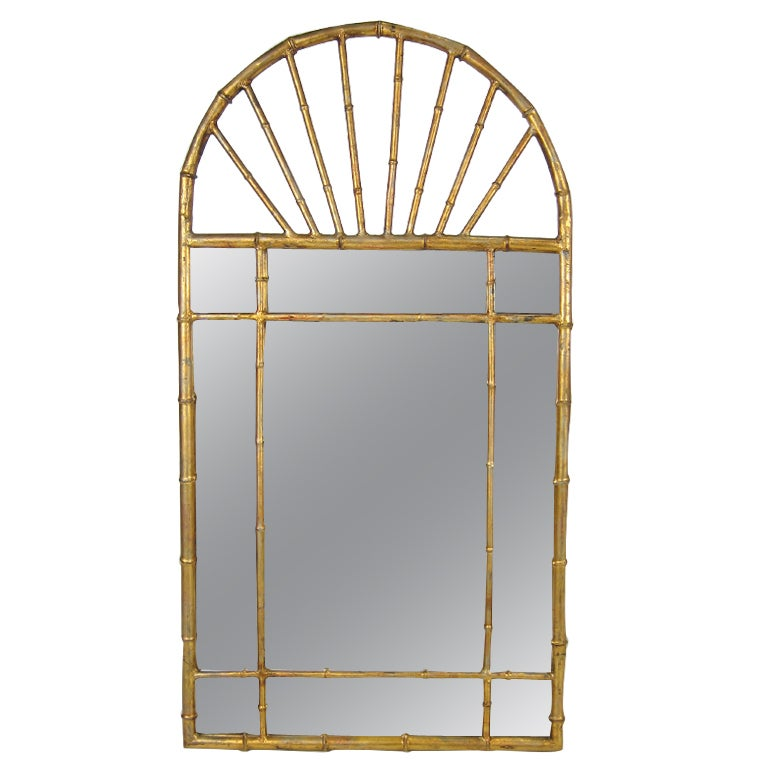 Italian Gold Gilt Iron And Glass Faux Bamboo Metal Square: Gilt Italian Oval Top Faux Bamboo Mirror By LaBarge For