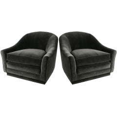 Luxurious Pair of Velvet Spoonback Lounge Chairs