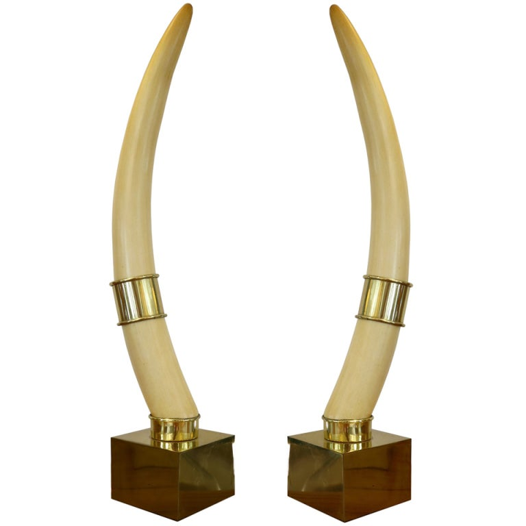 Pair Of Faux Ivory Tusks On Brass Plinths By Chapman At
