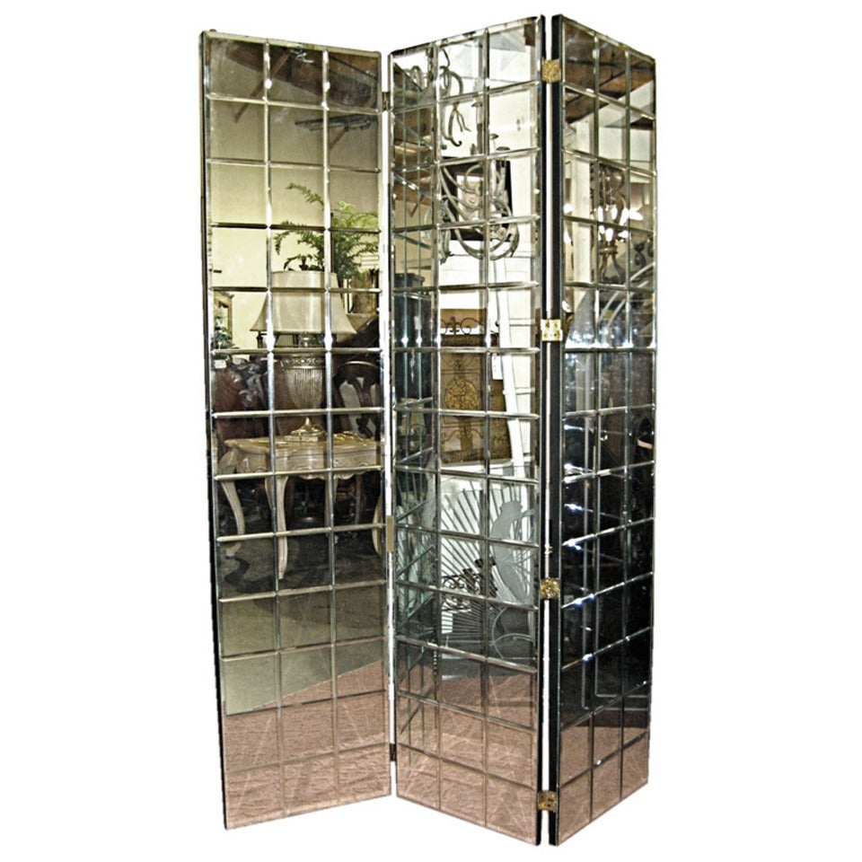 1970s Trellis Pattern Beveled Mirror Folding Screen