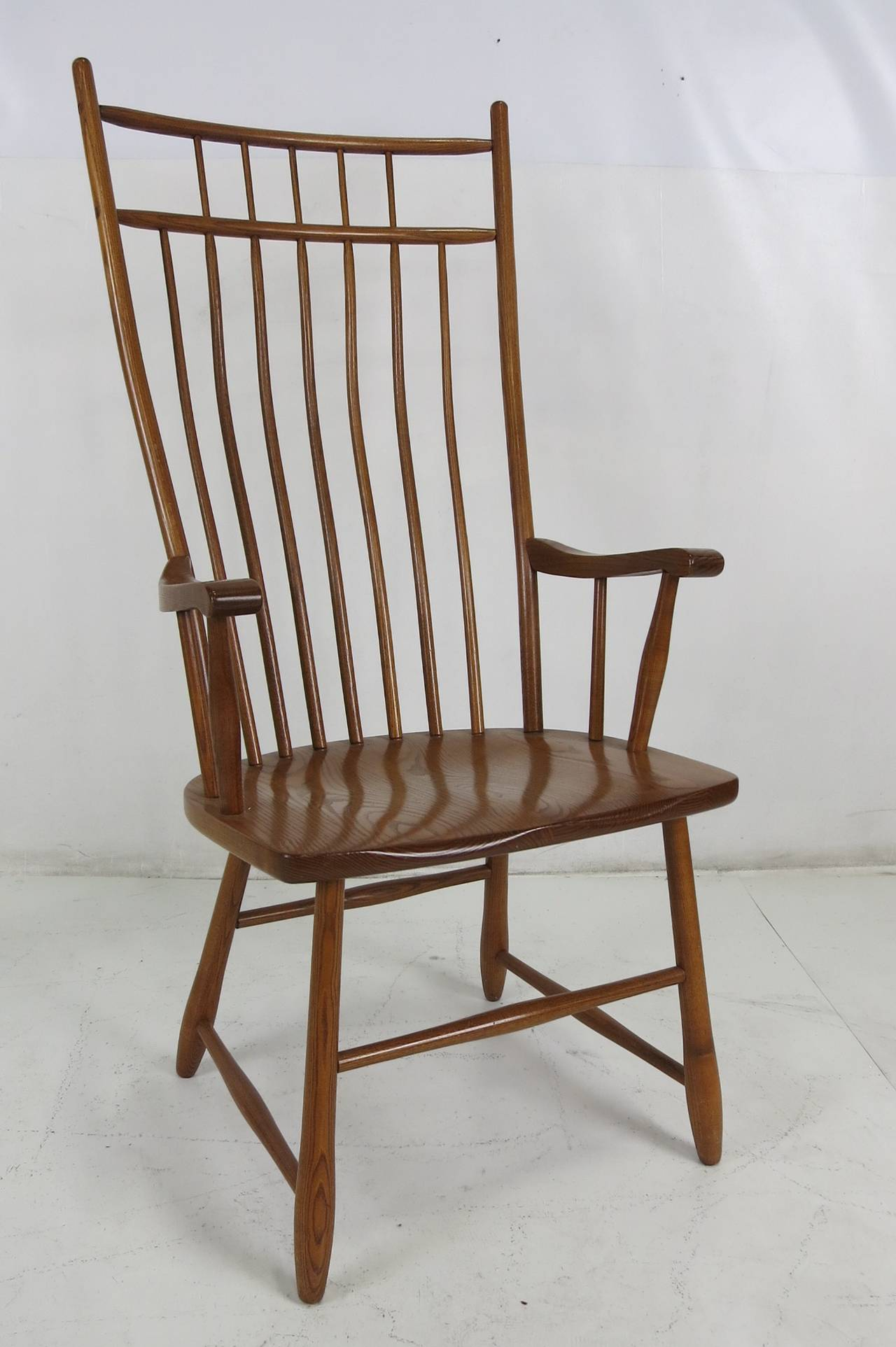Set of six high back windsor style dining chairs for sale for High back dining room chairs with arms