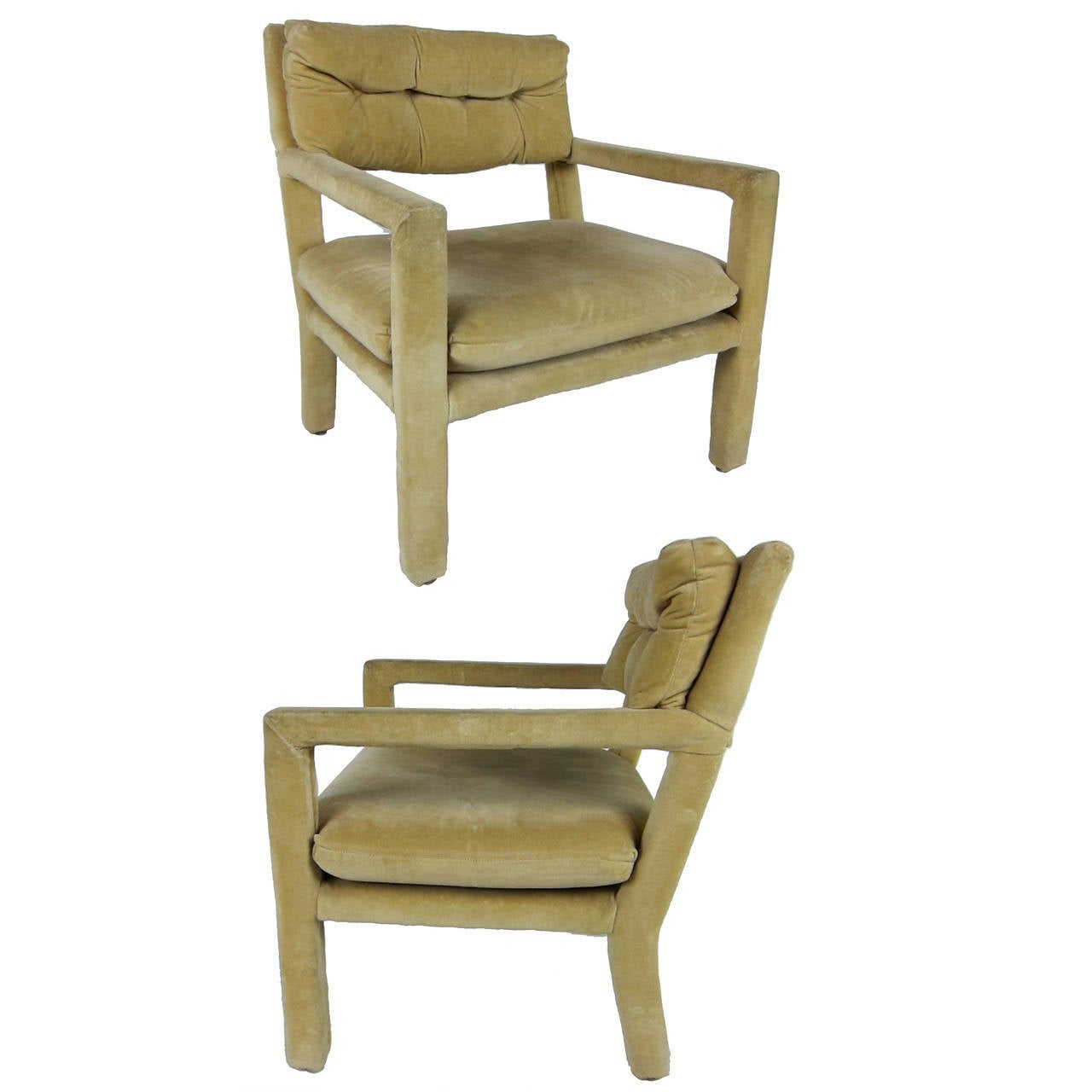 Pair of Open Arm Lounge Chairs by Milo Baughman for Directional