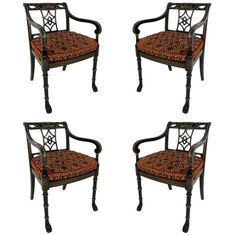 Set of Four Regency Armchairs with Paw Feet For Sale at
