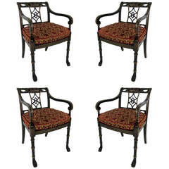 Set of Four Regency Armchairs with Paw Feet