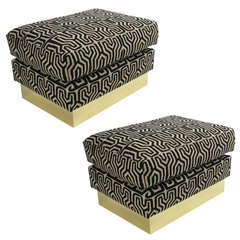 Pair of Tribal Upholstery Ottomans with Brass Bases
