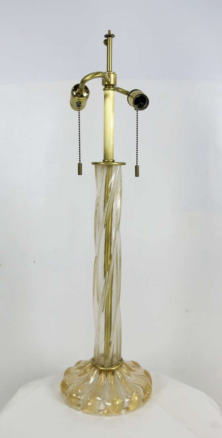 Gorgeous Clear Murano Glass Lamp with Gold inclusions and brass mounts by John Hutton for Donghia.