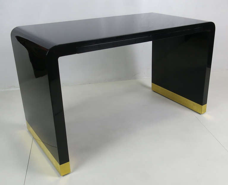 Polished Lacquer Waterfall Writing Desk at 1stdibs