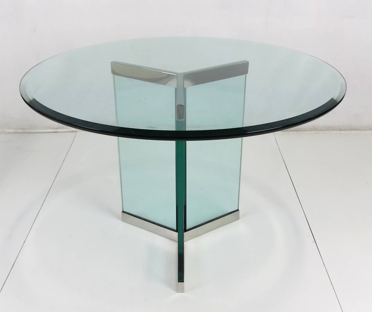 Genial Mid Century Modern Pair Of Stainless Steel Delta Form Table Bases By Pace  For Sale