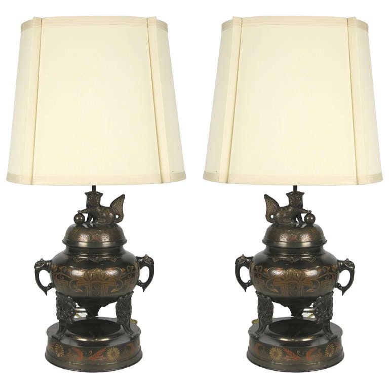 Pair of Enameled Bronze Censer Lamps by Marbro