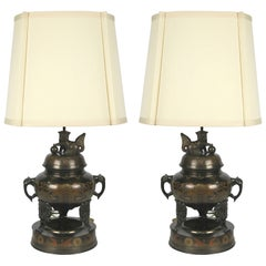 Pair of Enameled Bronze Censer Lamps by Marbro