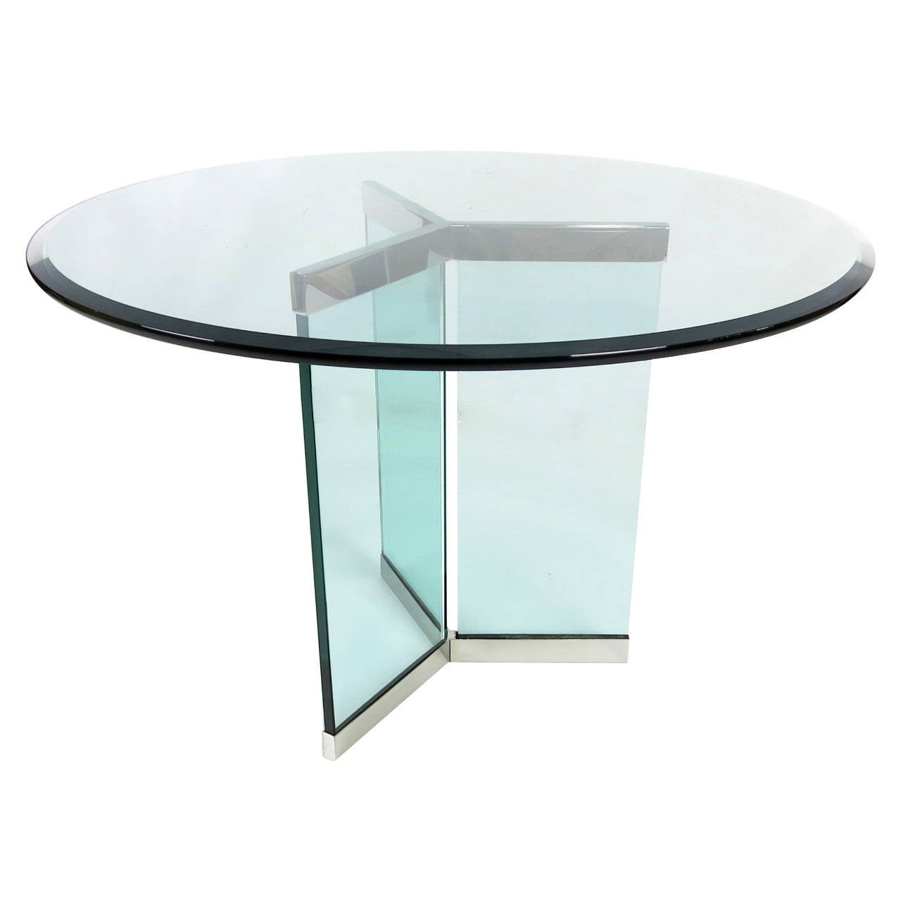 Pair of Stainless Steel Delta Form Table Bases by Pace