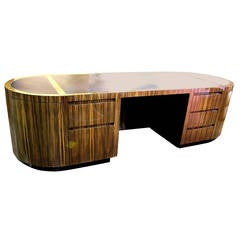 Monumental Macassar Ebony Executive Desk by Leon Rosen for Pace