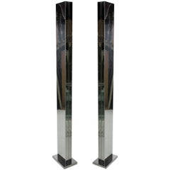 Pair of Chrome Torchieres by Casella