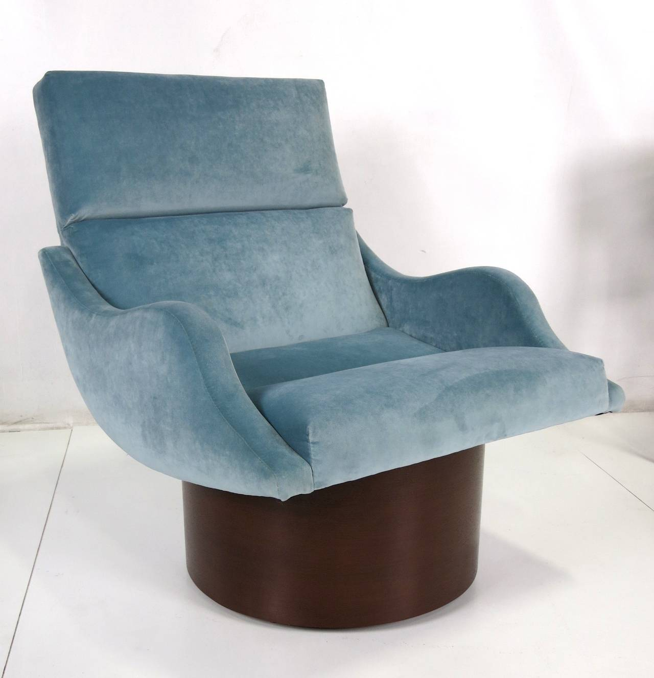 Upholstery Pair of Swivel Lounge Chairs