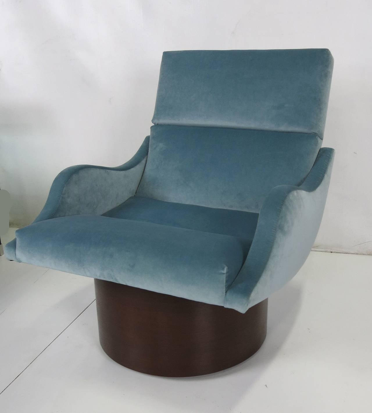 American Pair of Swivel Lounge Chairs