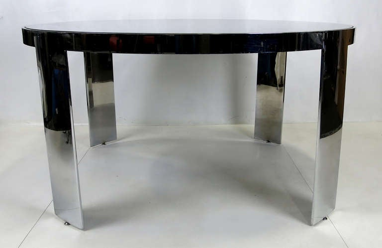 Modern Large-Scale Polished Nickel Dining Table by Pace For Sale