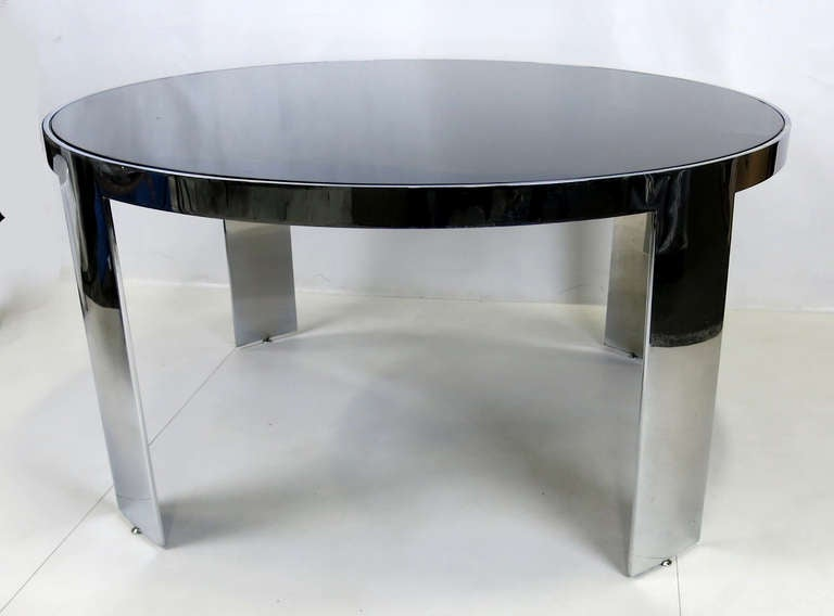 American Large-Scale Polished Nickel Dining Table by Pace For Sale