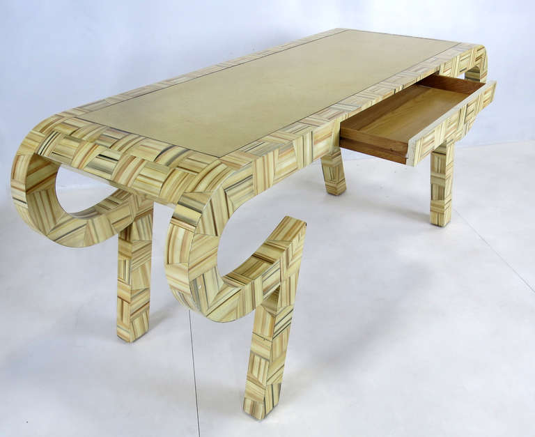 Sculptural Console or Desk in the Style of Karl Springer In Excellent Condition For Sale In San Leandro, CA
