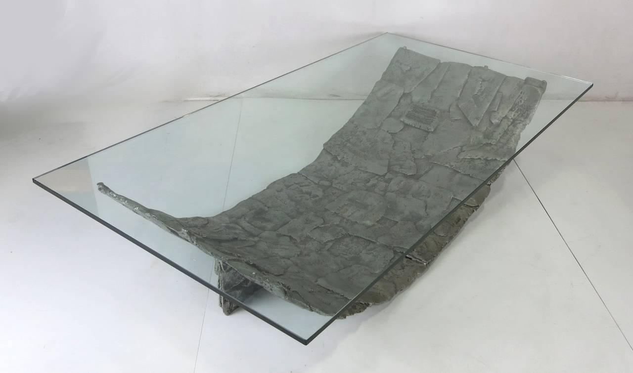 Monumental Aluminum Brutalist Coffee Table For Sale at 1stdibs
