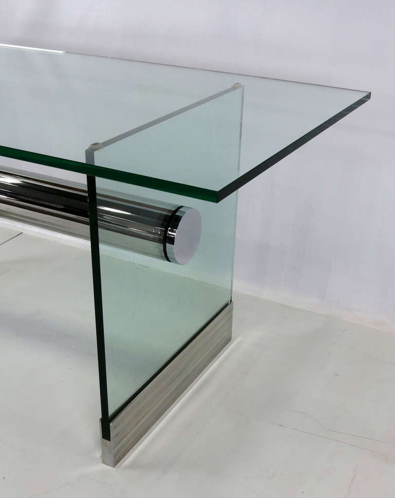 Chrome and Glass Dining Table Writing Desk by Pace For