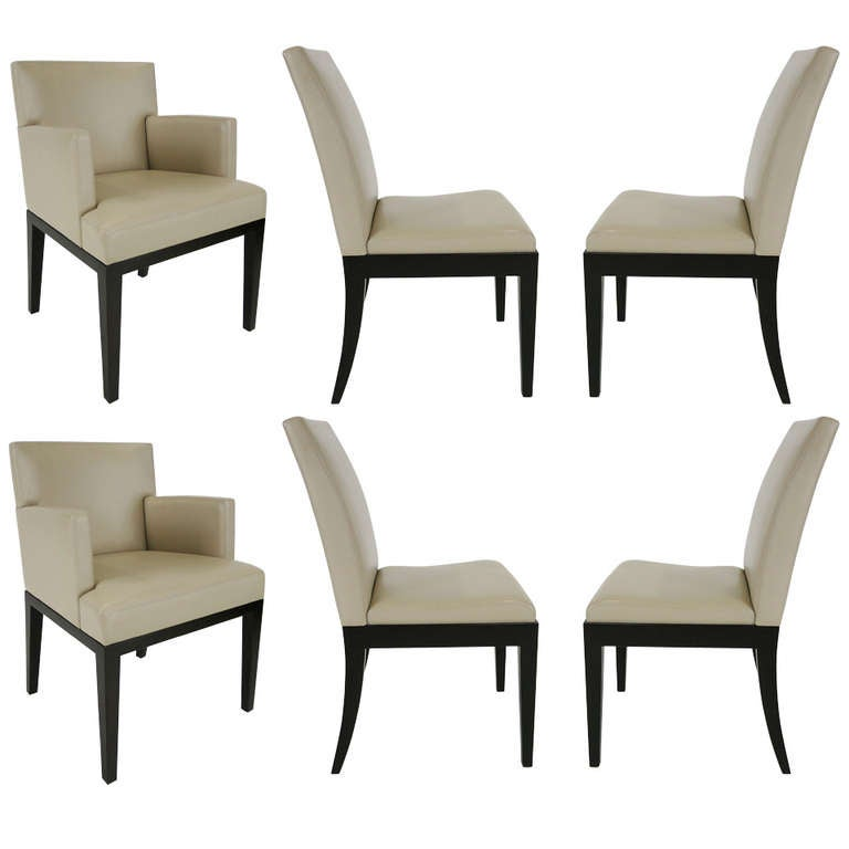 Set of six leather dining chairs by christian liaigre at for Dining room chairs set of 6