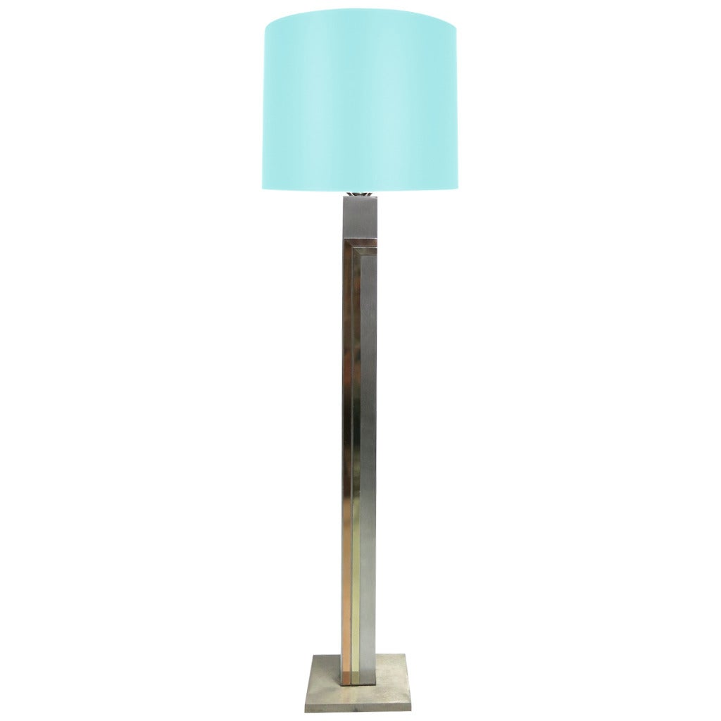 Mod 1970s Brushed Steel and Brass Floor Lamp by Pierre Cardin for Laurel