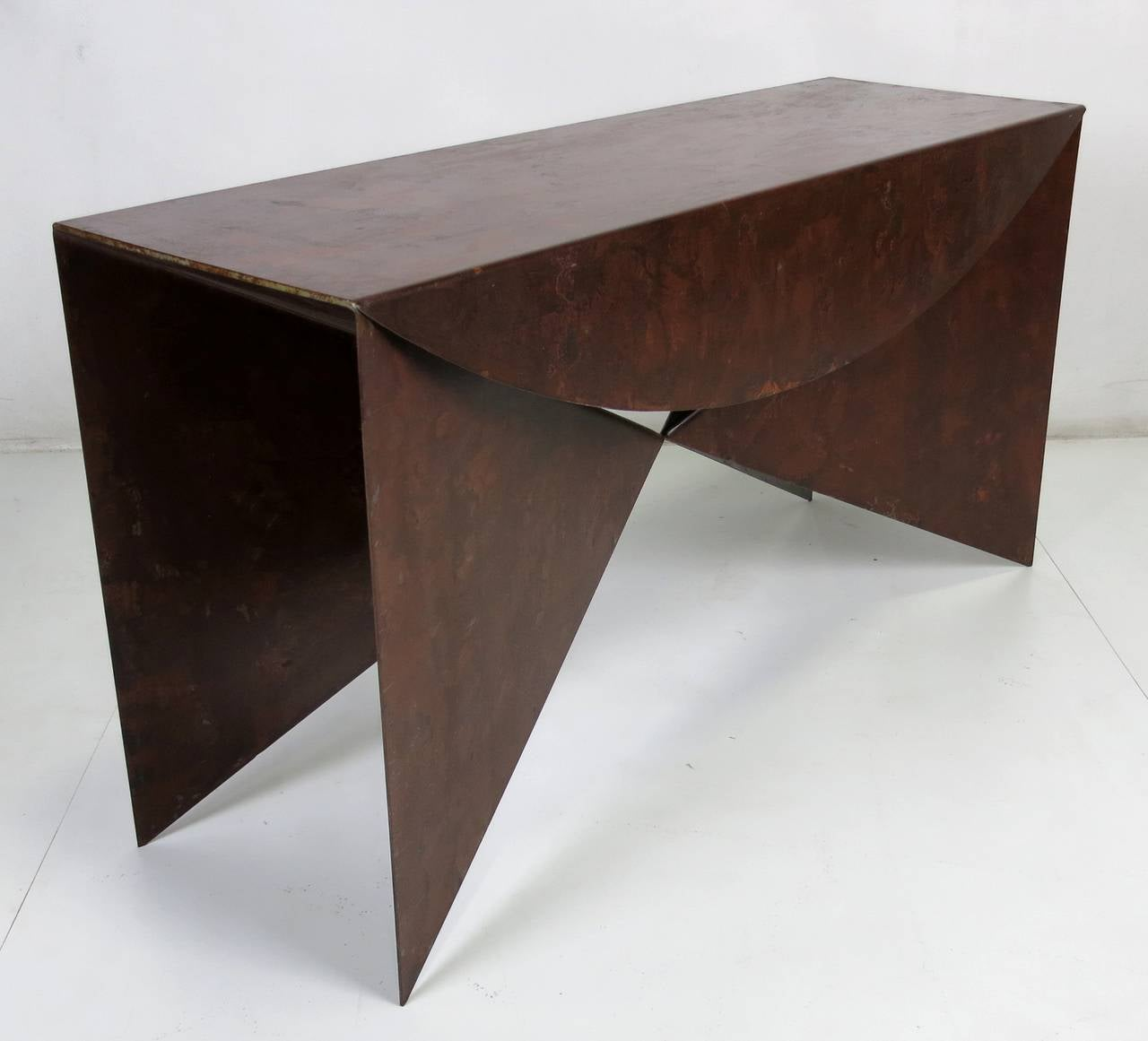 "American Custom Pair of Patinated Steel ""Origami"" Consoles For Sale"