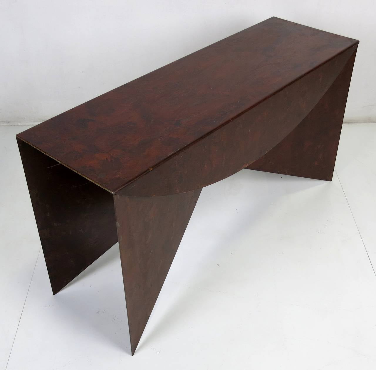 "Modern Custom Pair of Patinated Steel ""Origami"" Consoles For Sale"