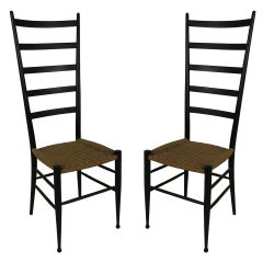Pair of High Back Chairs in the style of Gio Ponti