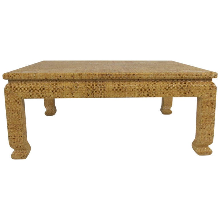 Lacquered raffia cocktail table after karl springer at 1stdibs for Raffia coffee table