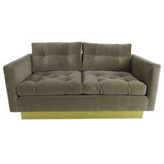 Tufted Velvet Loveseat with Brass Base by Milo Baughman