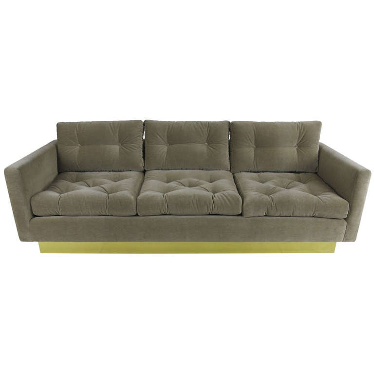 Tufted sofa with brass base by milo baughman for sale at for Tufted couches for sale