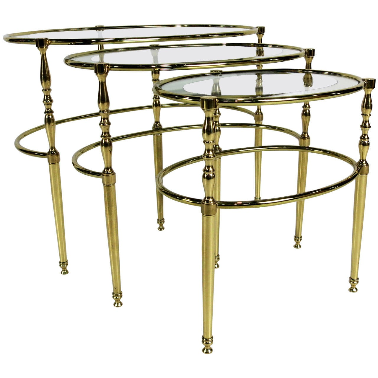 Set of Three Brass Oval Chiavari Nesting Tables