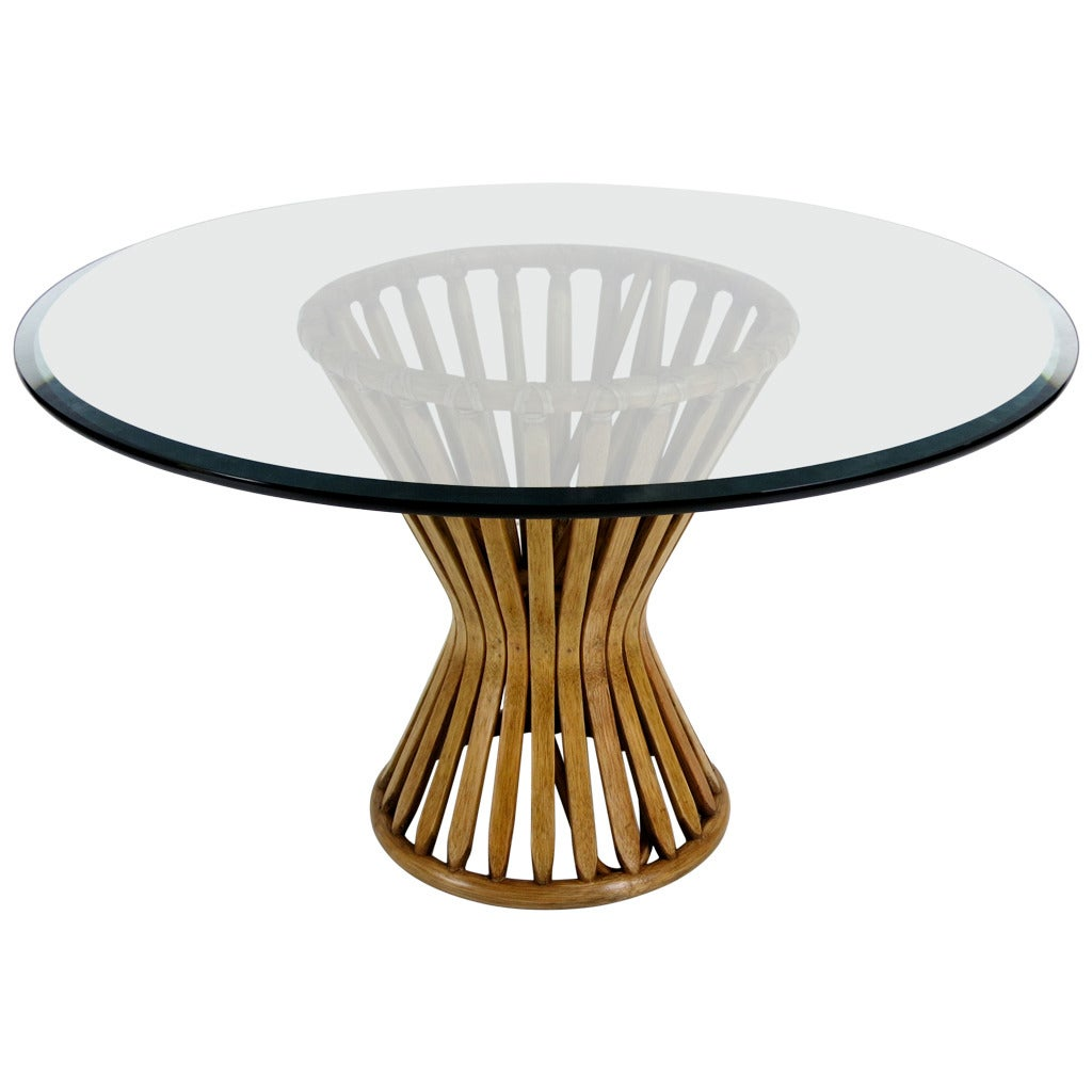 Michael taylor cyprus tree trunk dining table at 1stdibs - Classic Rattan Sheaf Form Lounge Table By Mcguire 1