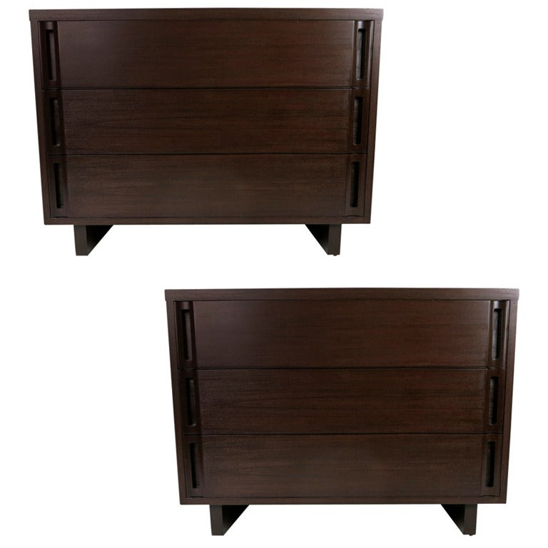 Pair of Walnut Bachelors Chests in the style of Paul Laszlo