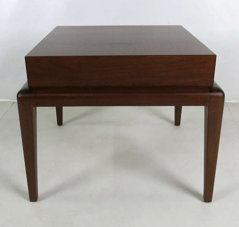 Elegant Modern pair of Mahogany Side Tables by Seth Ben-Ari.  The tables are beautifully constructed of fantastic materials.  The design is clearly influenced by the MidCentury masters ie. Parzinger and Robsjohn-Gibbings.